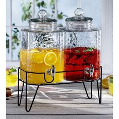 The Style Setter Hamburg Beverage Dispensers make it easy for guests to serve themselves a refreshing drink. The 2 beautiful glass containers sit in a sturdy metal stand and are positioned high enough for easy use. Glass Beverage Dispenser, Beverage Drink, Juice Dispenser, Most Popular Cocktails, Alcoholic Drinks, Beverages, Fruit Punch, Glass Texture, Glass Containers