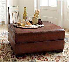 Turner Leather Ottoman #potterybarn