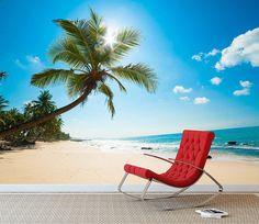 Beach Wall Murals, Outdoor Furniture, Outdoor Decor, Sun Lounger, Beach Mat, Outdoor Blanket, Tropical, Type, Wallpaper