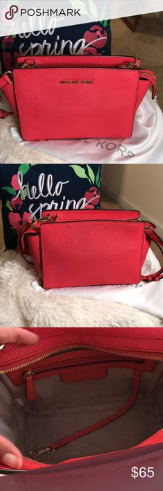 "Michael Kors Selma Saffiano Leather Crossbody Michael Kors Selma Mini ""Watermelon""  Saffiano Leather Crossbody. 100% Saffiano Leather. Adjustable Strap 24-26"". Comes with Duster Bag! MICHAEL Michael Kors Bags Crossbody Bags"