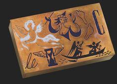 LINE VAUTRIN (1913-1997)  ETUI A CIGARES 'L'AMOUR FAIT PASSER LE TEMPS, LE TEMPS FAIT PASSER L'AMOUR', VERS 1943 De forme rectangulaire, en bronze doré partiellement émaillé blanc, bleu et noir, l'intérieur doublé de liège Hauteur : 2,8 cm. (1 in.) ; Longueur : 15 cm. (5 7/8 in.) ; Largeur : 9 cm. (3½ in.) Signé LINE VAUTRIN au revers