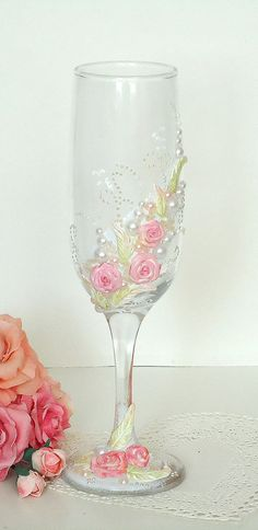 Hand Decorated Wedding Anniversary Champagne by JoliefleurDeco