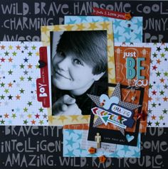 #papercraft #scrapbook #layout  Just Be You Layout - Scrapbook.com