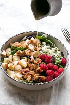 Pear And Raspberry Chicken Salad Recipe - Cooking LSL Summer Salad Recipes, Chicken Salad Recipes, Healthy Salad Recipes, Lunch Recipes, Summer Salads, Delicious Recipes, Healthy Foods, Tasty, Raspberry Chicken