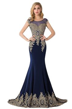 MisShow Womens Rhinestone Lace Mermaid Prom Dress Long Evening Gowns