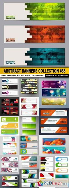 Abstract Banners Collection #58 - 20 Vectors Banner Design, Layout Design, Web Design, Logo Design, Graphic Design, Design Ideas, Boarder Designs, Welcome Banner, Banner Template