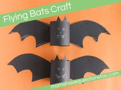 Try this fun flying bats craft with your kids to get in the spirit for Halloween!