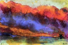 Evening Landscape with Windmill - Emil Nolde - 1938-1945 - watercolor Height: 15.1 cm (5.94 in.), Width: 22.7 cm (8.94 in.)