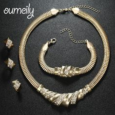 OUMEILY Wedding Accessories African Beads Jewelry Sets Imitation Crystal Gold Plated Bridal Necklace Bracelet Earrings Rings Set