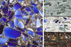 Vetrazzo countertops, - made from recycled glass and concrete.