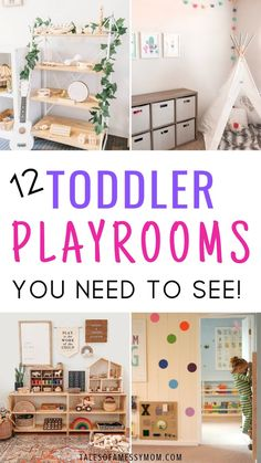 12 Toddler Playroom Ideas 12 playroom ideas for toddlers. Toddler playrooms with tons of DIY ideas, Montessori inspiration, at home indoor playgrounds, small spaces. On a budget playroom ideas for 2 year olds and for kids.
