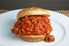 Sweet & Spicy sloppy joe - ground beef, maple baked beans, red onion, chili powder, brown sugar, sweet bbq sauce, bacon (optional) on a toasted wheat bun