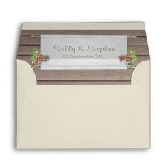#wood - #Rustic wood and floral wedding invitation envelope
