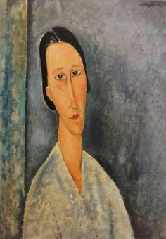 Modigliani. Madame Zborowska, 1918. Tate. Cartel de exposición Modigliani y su tiempo en museo Thyssen