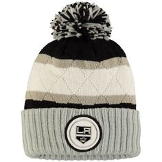Los Angeles Kings Mitchell & Ness Quilted Crown Jersey Stripe Hi-Five Cuffed Knit Hat with Pom - Gray/Black - $23.99