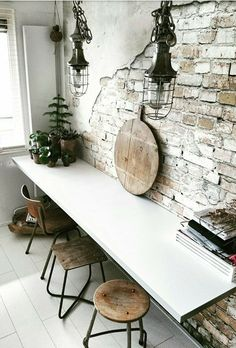 home office - exposed brick wall