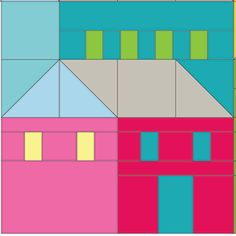 (7) Name: 'Quilting : Hillside Houses Block 2
