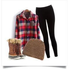 Plaid shirt, black leggings, Sorel Joan of Arctic boots and a matching hat & vest to complete the look. Cold Weather Outfits, Fall Winter Outfits, Winter Wear, Autumn Winter Fashion, Black Vest, Black Leggings, Sorel Tofino, Colorado Winter, Casual Outfits