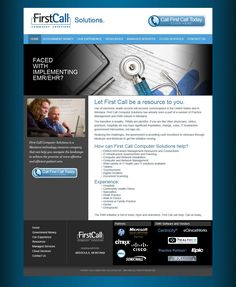 We designed hundreds of website designs for First Call Computer Solutions from 2007-2012, including their own website. This is a good example of using us as an in-house designer on flat-rate projects.