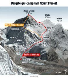 Karte/Map: Bergsteiger-Camps am Mount Everest im Himalaya Gebirge (Mai 2017) – Infografik