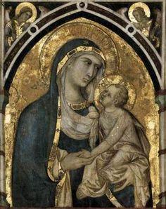 Pietro Lorenzetti - Madonna con Bambino (Madonna con Bambino e San Francesco e San Giovanni Battista) - affresco - ca. 1315-1330 - Cappella di San Giovanni Battista, Basilica inferiore di San Francesco, Assisi