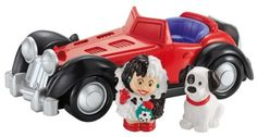THis little people rendition of cruella deville and he roadster along with the little dalmatian puppy by fisher price is absolutely adorable.. if you little one loves little people they will like this . a fun addition to any child's stash of little pe...