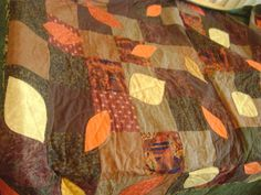 Fall falling leaves on squares twin size quilt by SpoolandThimble, $125.00