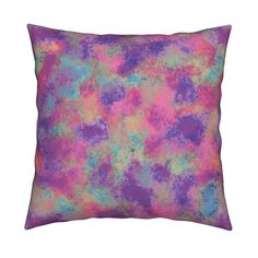 Catalan Throw Pillow featuring PAINTED FROSTED MARBLED LAYERS OF COLORS FUCHSIA MORNING by paysmage   Roostery Home Decor