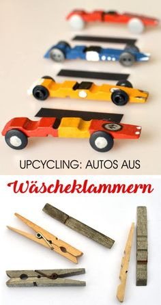 Basteln mit Wäscheklammern: Upcycling-Rennwagen, Autos basteln mit Kindern Crafts with clothes pegs: upcycling racing cars, cars tinkering with children clothespins # car Fun Crafts For Kids, Craft Stick Crafts, Diy For Kids, Diy And Crafts, Craft Sticks, Car Crafts, Airplane Crafts, Rainy Day Crafts, Upcycled Crafts