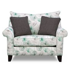 In Bloom. Bring your home's style to life with the bright and vibrant Jasmine chair and a half. The green, black and white upholstery features a fun and fabulous floral pattern, while the elegant roll arm design and piping details make for a truly high-end feel. Made with a sturdy, high-density foam core, this piece provides amazing comfort with stunning style.