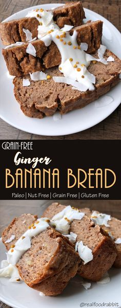 Ginger Banana Bread  #nutfree #paleobread #grainfree