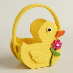 Mini Duck Felt Easter Basket, Set of 2