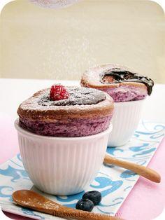 Raspberry Souffle with Hidden Chocolate Truffle - Oh My.