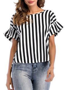 Eymoiy Women Flare Sleeve Chiffon Casual Blouse Top Shirt with Vertical Stripe Loose Fit Daily and Working Latest Tops Fashion, Style Feminin, Ruffle Swimsuit, Ruffle Dress, Bollywood Dress, Mode Plus, Casual Outfits, Fashion Outfits, Fashion Clothes