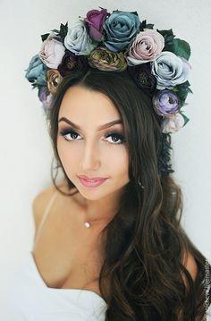 Flower tiara / Диадемы, обручи ручной работы. Ярмарка Мастеров - ручная работа. Купить Ободок с цветами, эксклюзивный венок на голову «Мистика». Handmade.