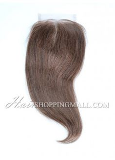"#4 Lace Closure Indian Remy Hair 4X4"" Yaki [CI20]"