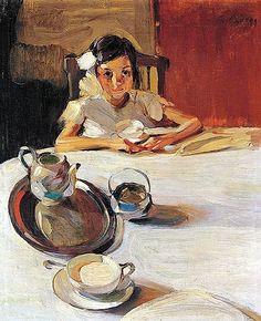 The Milk, 1917 painting by Nikolaos Lytras Art And Illustration, Illustrations, Tee Kunst, Greek Paintings, Art Cube, Figurative Kunst, Greek Art, Tea Art, Fine Art