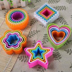 5Pcs/set Plastic  Star Tree Round Heart  Flower Fondant Cake Cookie  Cutter Mold #OUSSIRRO