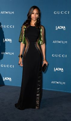 Zoe Saldana opted for a figure flattering Gucci frock with mesh inserts.