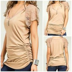 Womens Khaki Lace Sleeve Ruched Waist Plus Size Sexy Casual Tunic Tee Top 3X 3XL