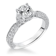 14K White Gold Diamond Leaf Engagement Ring at Wedding Day Diamonds