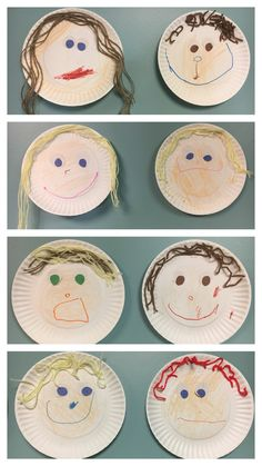 """Self-portrait paper plate art, pre-k, all about me week. We made these during all about me week. I paired it with """"I like me"""" book by Karen Beaumont."""
