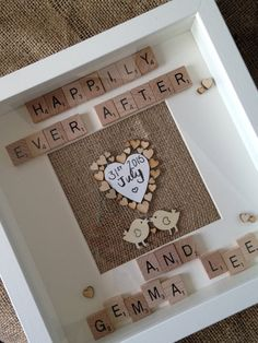 Wedding Gift - Personalised Scrabble Art Frame - Gift - Present - Keepsake - Wedding Day - Marriage  - Love Birds - Happily Ever After