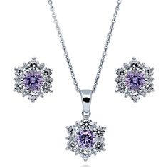 BERRICLE Sterling Silver Purple CZ Flower Bridesmaids Necklace and... ($70) ❤ liked on Polyvore featuring jewelry, sets, purple, women's accessories, purple pendant, sterling silver jewelry sets, sterling silver flower pendant, pendant jewelry and cz jewellery