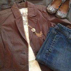 Brown pinstriped Blazer The perfect casual blazer. Worn once. Sonoma Jackets & Coats Blazers
