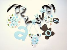 Polka dot baby shower decorations blue and brown by ParkersPrints, $15.50