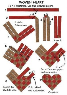 Discover thousands of images about Woven Heart Diagrams Flax Weaving, Paper Weaving, Weaving Art, Weaving Patterns, Basket Weaving, Crafts To Make, Arts And Crafts, Diy Crafts, Birch Bark Crafts