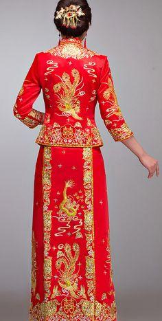 Chinese Traditional Wedding Dress Kwa Qun, Chinese Gua, Qun Kwa