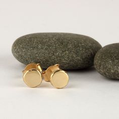 gold stud earrings simple solid gold earrings by SigalGerson Simple Earrings, Gold Earrings, Real Gold Jewelry, Gold Studs, Solid Gold, Cute Gifts, Earrings Handmade, Contrast, Delicate