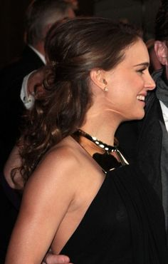 Natalie Portmans partial updo hairstyle